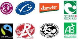 Plusieurs logos de différentes labels bio